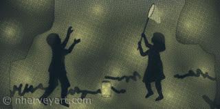 """""""On a Summer's Eve"""" digital art, children catching fireflies Closeup"""