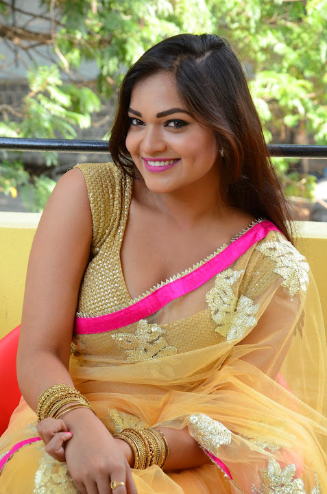 ashwini cleavage in yellow saree   south indian actress