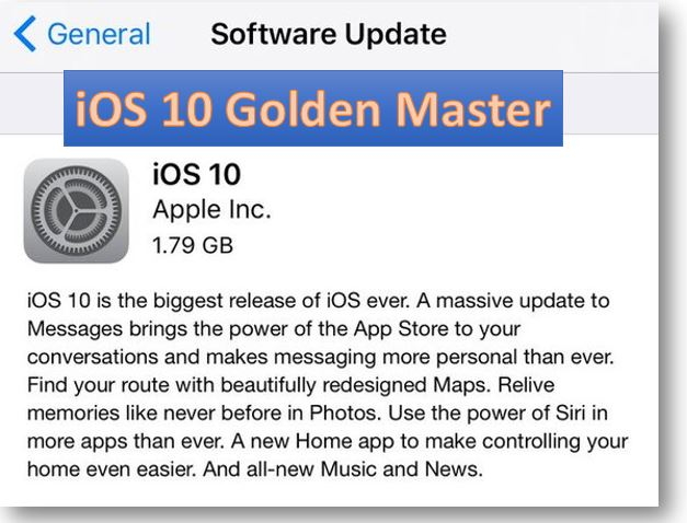 Apple has released the golden master of iOS 10 for iPhone, iPod touch, and iPad to public beta testers which is likely to be released to final version of iOS 10 to public on September 13th.