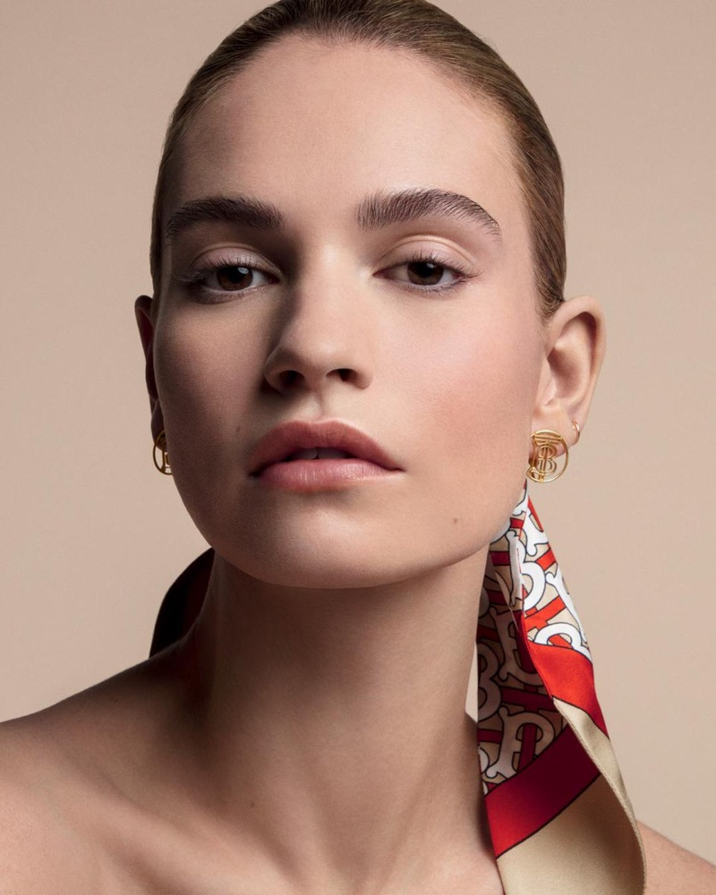 Lily James fronts Burberry Matte Glow Foundation campaign