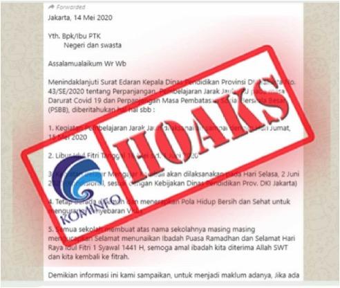 Informasi Tentang Libur Idul Fitri Sampai 1 Juni bagi Sekolah di Jakarta, Hoax