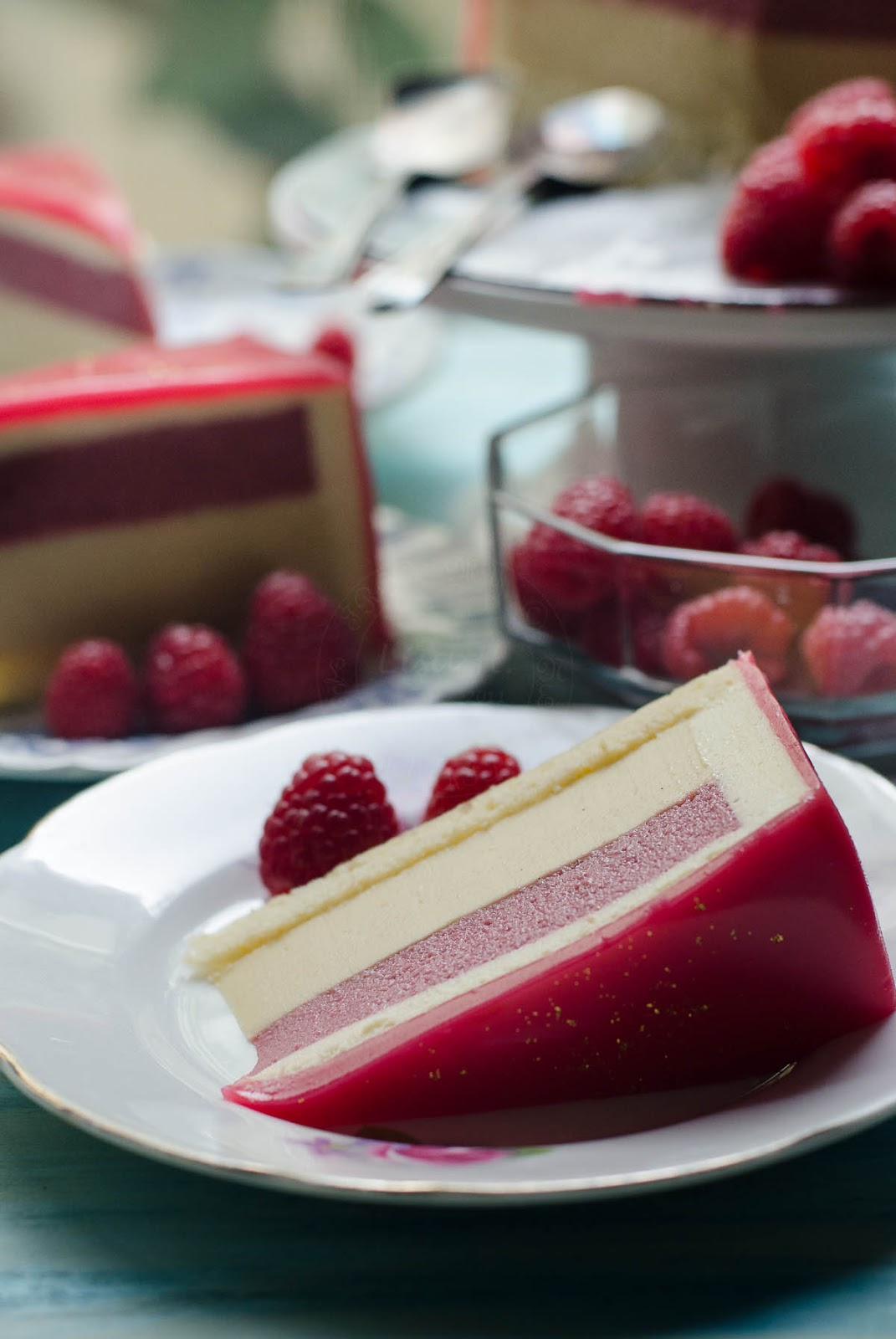 Slice of Honey, Raspberry and White Chocolate Bavarois entremet image photo