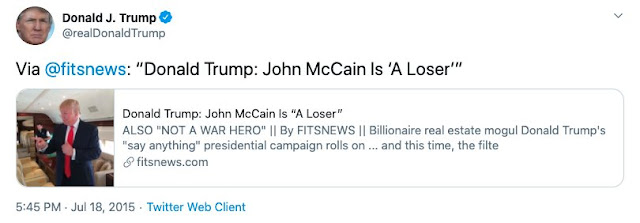 Trump falsely claimed he never called John McCain a 'loser.' Just check his Twitter account.