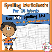 Spelling Worksheets using 15 Spelling Words for any list