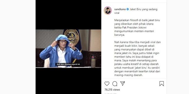 Sandi Ungkap Makna Jaket Biru Dalam Video Instagramnya Yang Diunggah Hari Ini