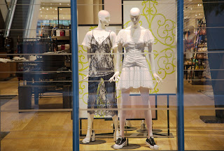 Two mannequins in the window, the Domain, Austin, Texas, USA