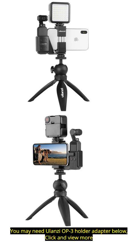 Ulanzi OP-1 Osmo Pocket Smartphone Tripod Mount Fixed Stand Bracket Holder w Mini LED Video Light for DJI Osmo Pocket Gimbals