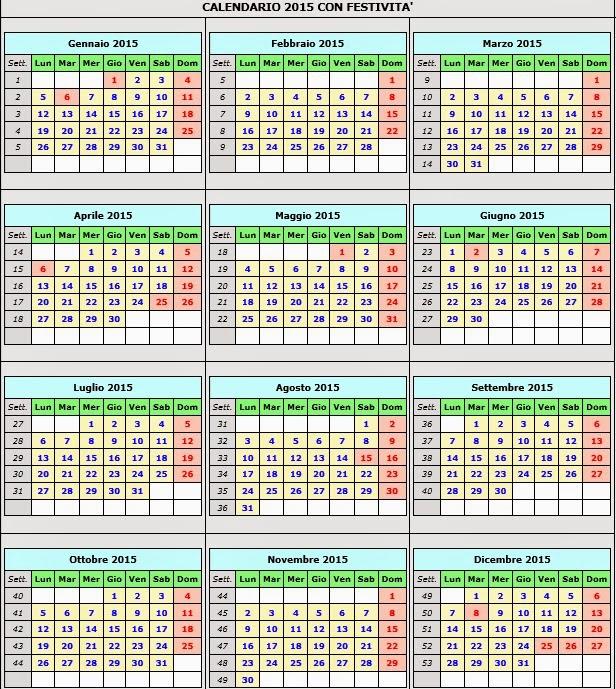 Calendario Con Festivita.Calendario Calendario 2015 Con Festivita