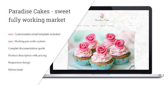 Download Paradise Cakes Sweet eCommerce Landing Page Template