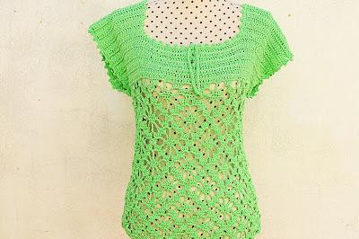 4 - Crochet IMAGEN Blusa verde a crochet y ganchillo muy fácil y sencilla. MAJOVEL CROCHET