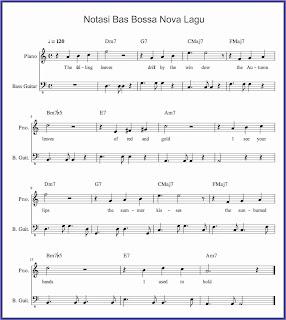 notasi bas bossa nova pada lagu