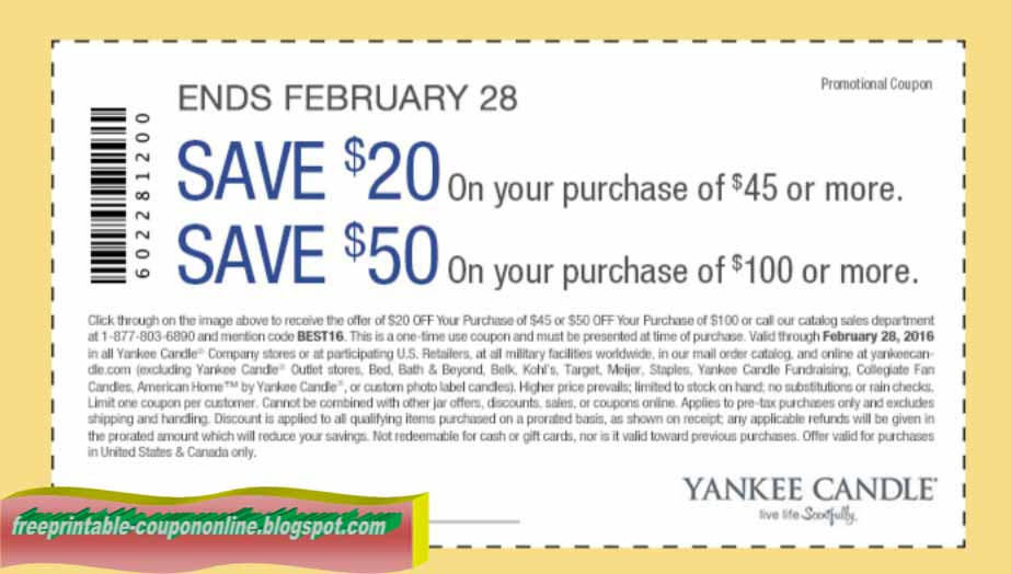 Yankee candle free shipping coupon code