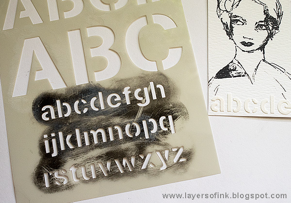 Layers of ink - Stamping with Stencils Tutorial by Anna-Karin with stamps and stencils by Dina Wakley.
