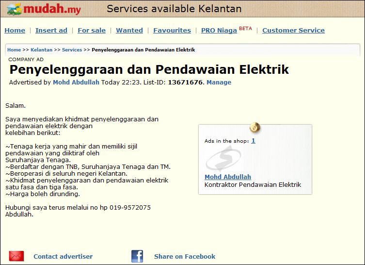 Sinaran Rezeki Enterprise Kontraktor Elektrik Berdaftar Iklan Di Mudah My