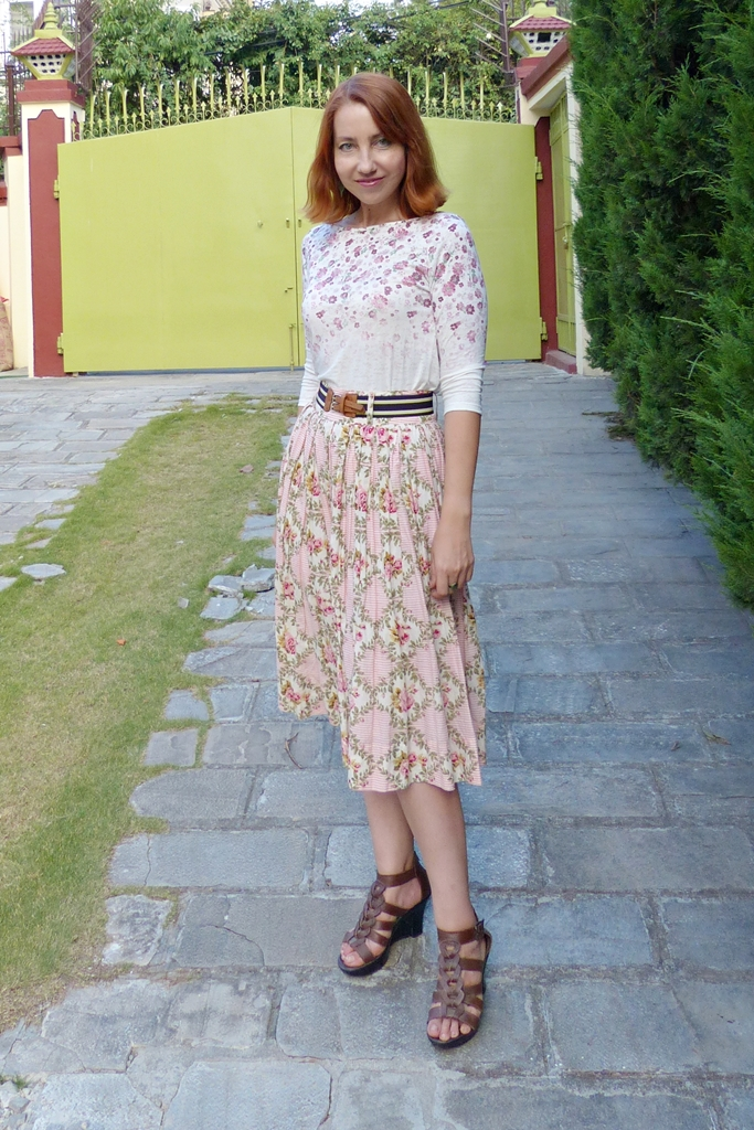 Floral roses and stripes skirt worn with floral print top