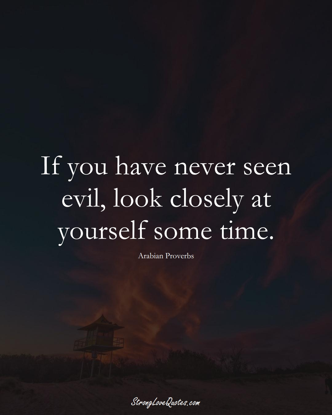 If you have never seen evil, look closely at yourself some time. (Arabian Sayings);  #aVarietyofCulturesSayings