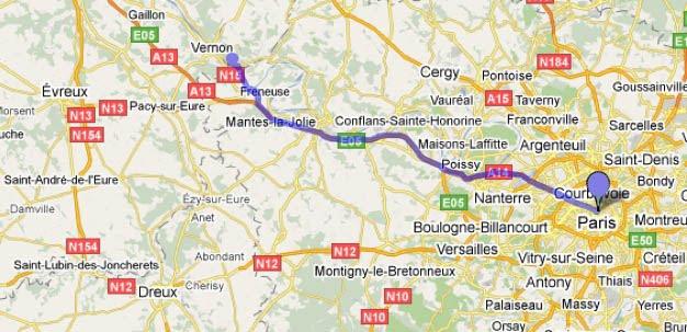 Mapa viagem de trem de Paris a Vernon