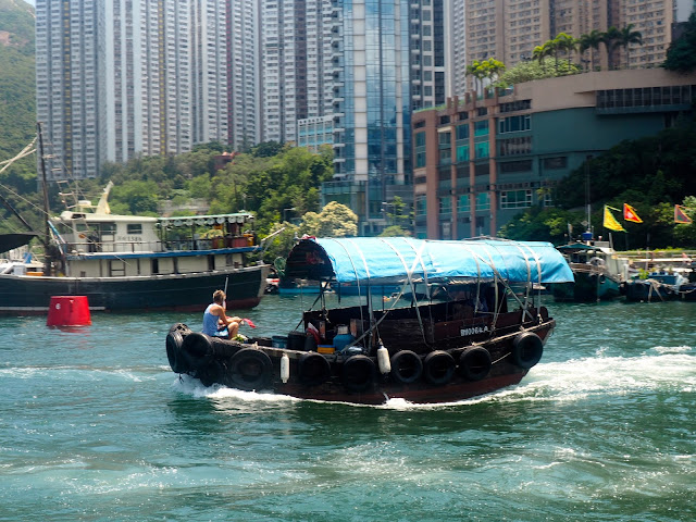 Sampan boat in the harbour at Aberdeen, Hong Kong