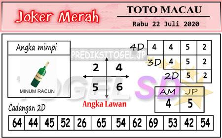 Prediksi Togel Joker Merah Macau Rabu 22 Juli 2020