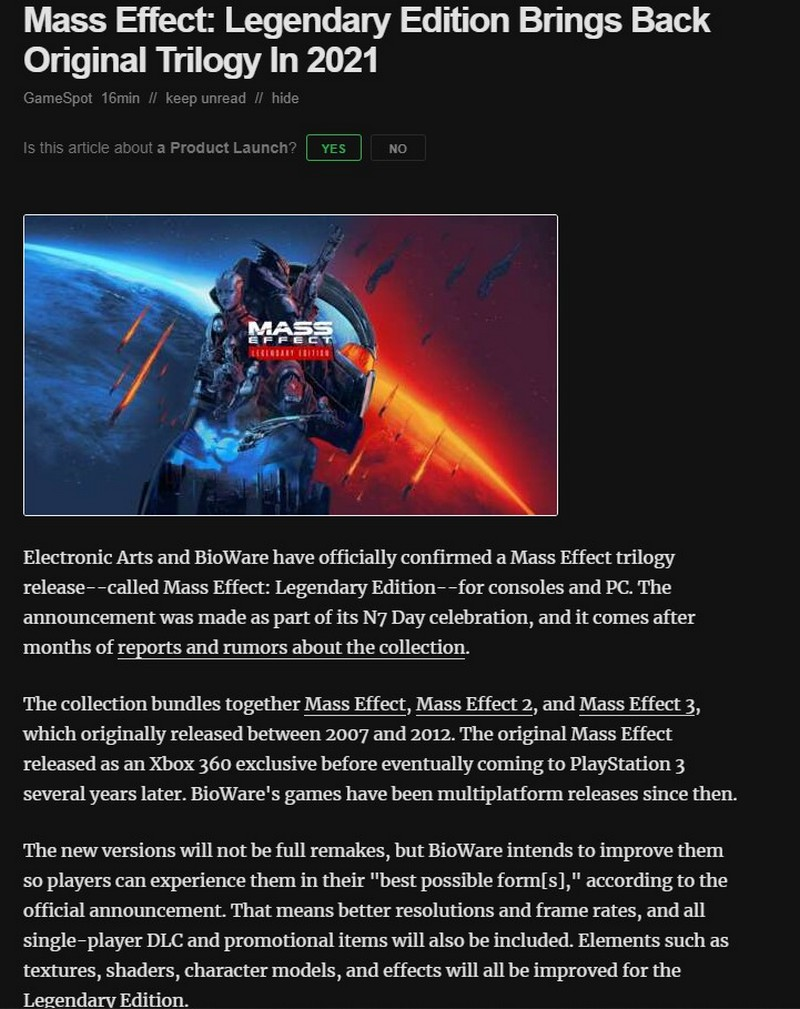 Details of Mass Effect Legendary Edition and the new part of the series leaked screenshot