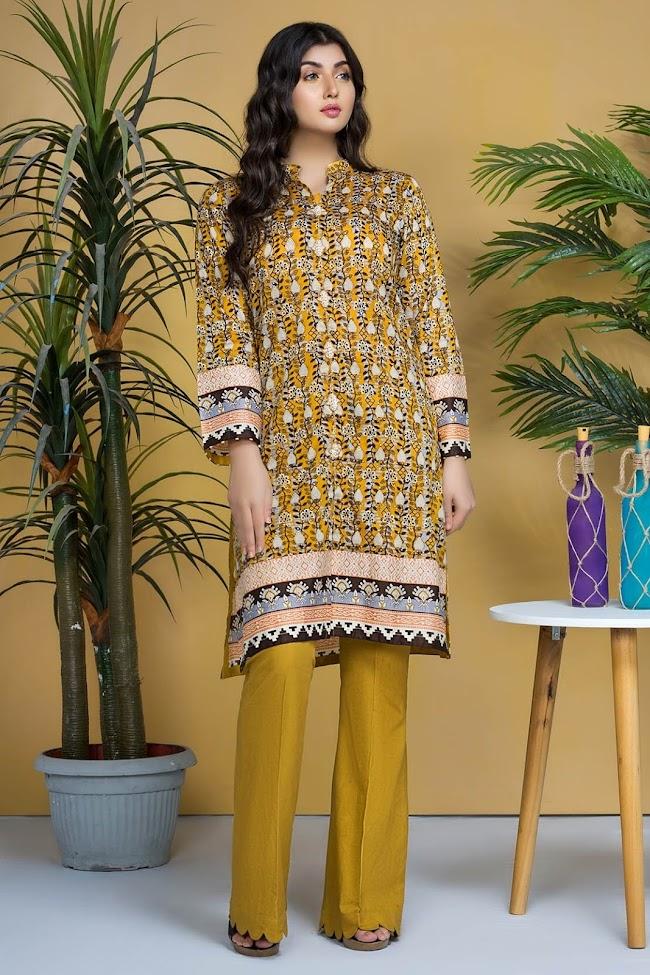 Warda lawn shirt yellow color