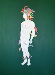 El Divino Serpiente Emplumada. 100 x 73 cm. Acrílico, acrílico dorado, marcador negro y bolígrafo negro, plateado y azul, lápiz negro, azul, verde, rosado, rojo y violeta sobre tela.
