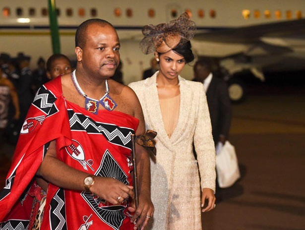 King Mswati III of eSwatini and one of his 15 wives