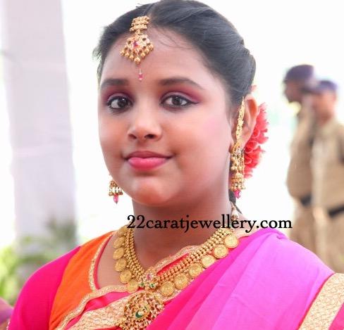 Small Girl in Kasumla  Kundan Jhumkas