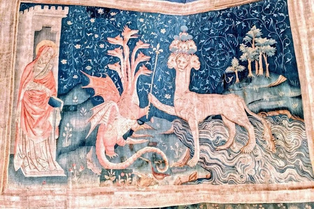 Apocalyse tapestry at Chateau d'Angers in the Loire Valley