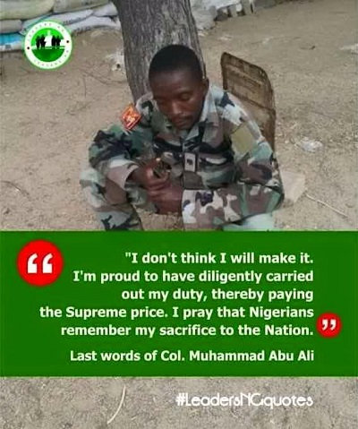 The Pathetic Last Words Of Lt. Col. Abu-Ali Before He Was KILLED By B'Haram; He's Indeed A Galant Soldier