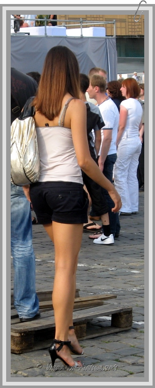 Moscow Girl In Black Shorts on High Heels