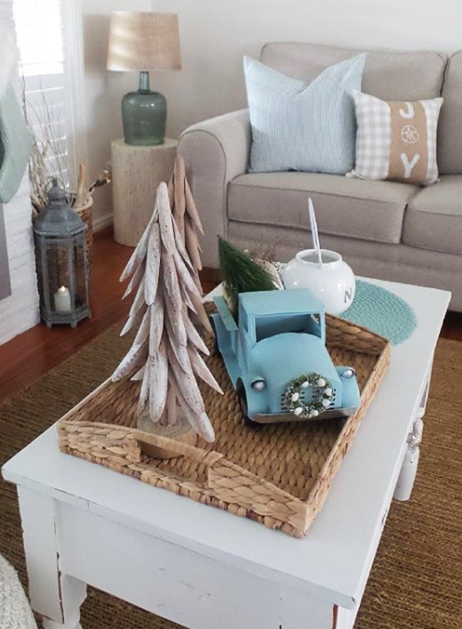 Coastal Christmas Tabletop Vignette with Toy Truck