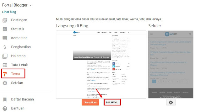 blogger template setting