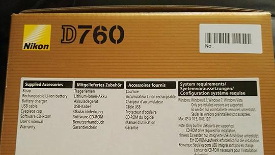 Коробка от камеры Nikon D760