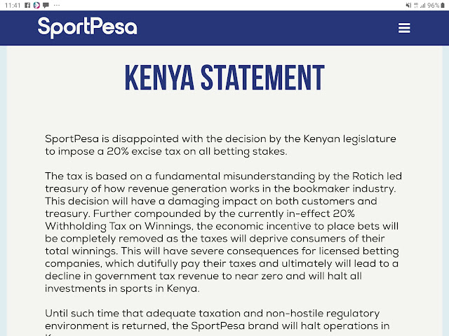 Sportpesa Closes Kenya Operations