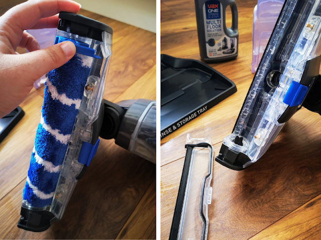 Image of roller brush removal for the VAX ONEPWR Hard Floor Cleaner. Image shows the blue and white roller being unclipped from the main vacuum. Next image shows the empty roller compartment on the VAX ONEPWR Hard Floor Cleaner
