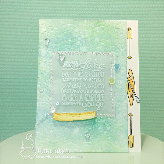 Advice from the Lake Card by Naki Rager | Lake Advice Stamp Set  & Waves Stencil by Newton's Nook Designs  #newtonsnook
