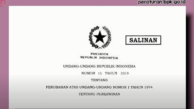 undang-undang Republik Indonesia nomor 16 tahun 2019 tentang pernikahan