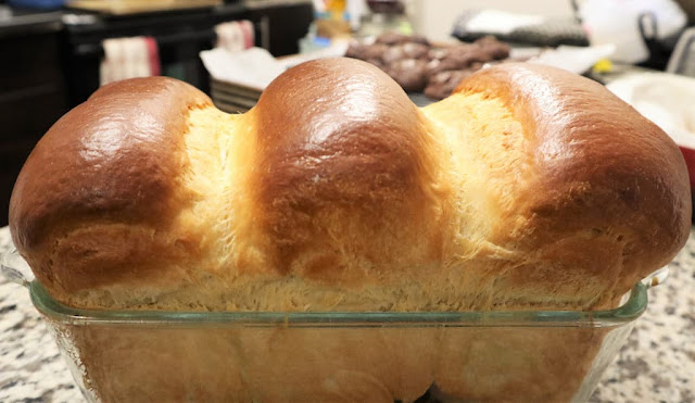 A three-lobed milk bread with golden top