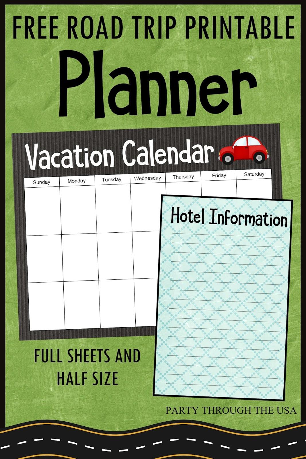 Road Trip Planner Printable