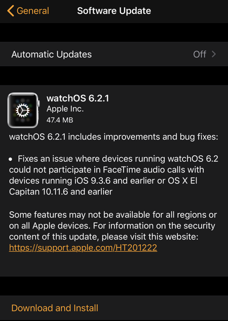 watchOS 6.2.1 Features