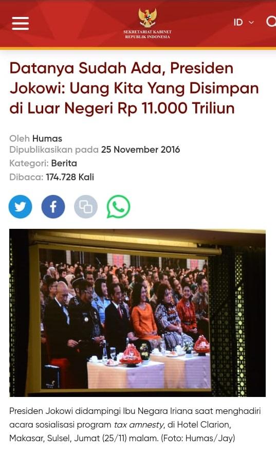 Usai Ramai Diungkit Kembali, Berita Terkait Pernyataan Jokowi Miliki Rp11.000 Triliun di Situs Setkab Mendadak Hilang