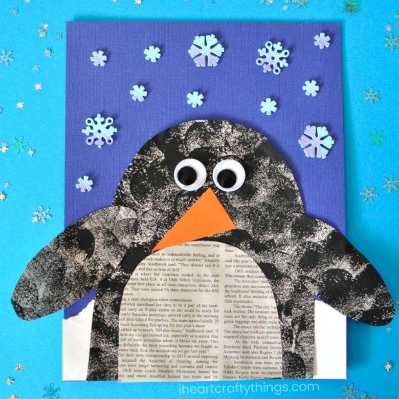 newspaper penguin winter craft for kids