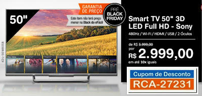 Pré Black Friday Smart TV 50 3D Sony