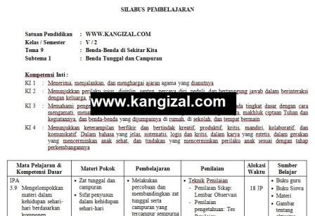 Silabus kelas 5 kurikulum 2013 terbaru revisi 2017 2018 2019 2020 Tema 9 www.kangizal.com