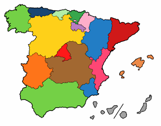 Dibujo que representa a las Comunidades Autónomas del territorio nacional español