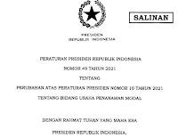 pp 49 Tahun 2021 Tentang  Perubahan Atas Peraturan Presiden  Nomor  10 Tahun 2021  Tentang Bidang Usaha Penanaman Modal