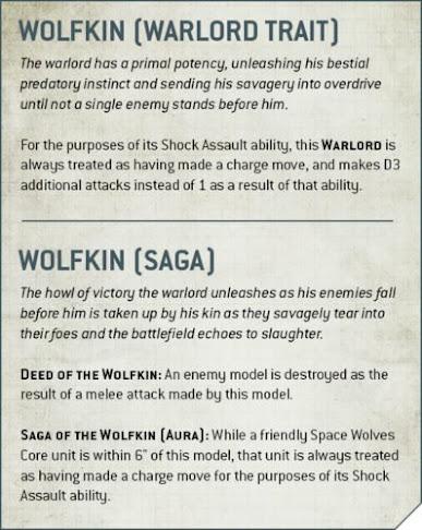 Rasgos del Señor de la Guerra lobos espaciales