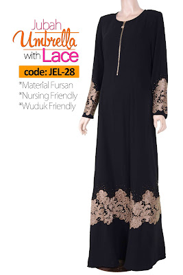 Jubah Umbrella Lace JEL-28 Black Depan 2
