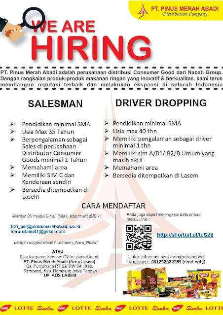 Lowongan Kerja Salesman Dan Driver Dropping PT. Pinus Merah Abadi Rembang